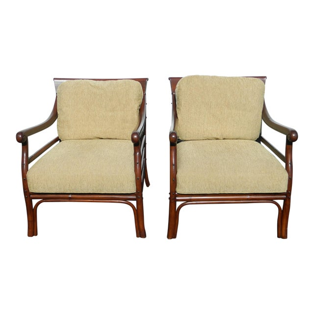 Palecek Colonialwood Club Chairs - A Pair - Image 1 of 11