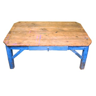 Reclaimed Wood Blue Coffee Table