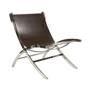 Leather and Chrome Sling Chair Paul Tuttle