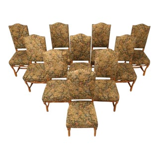 French Louis XIII Style Dining Chairs - Set of 10