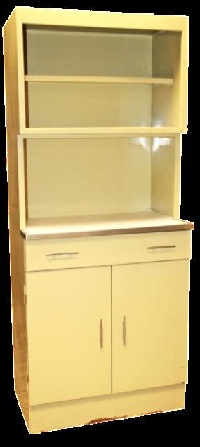 Mid Century Yellow Metal Kitchen Hutch