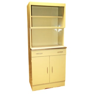 Mid-Century Yellow Metal Kitchen Hutch