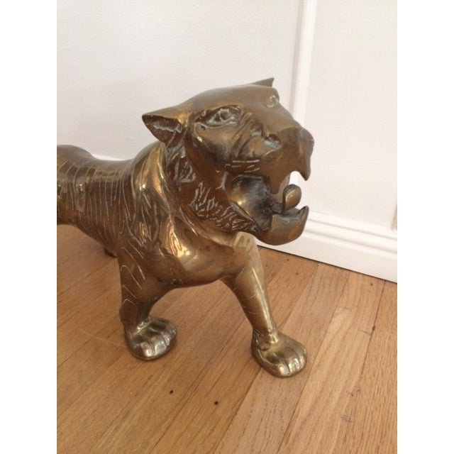 Large Vintage Brass Tiger - Image 4 of 9