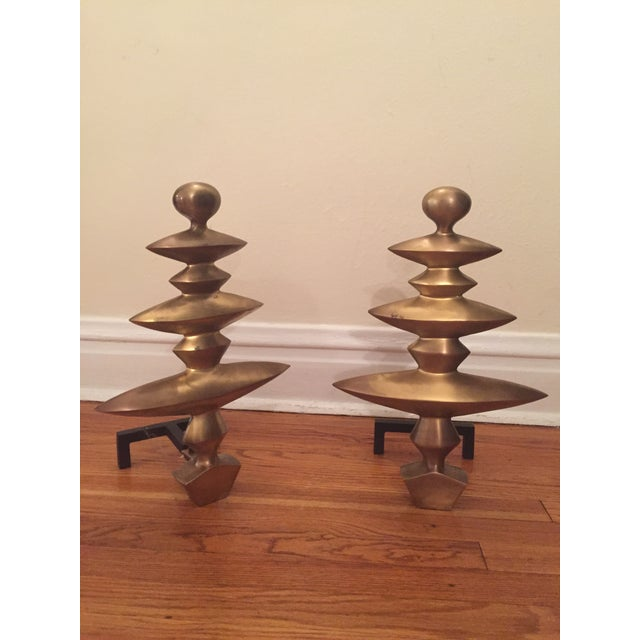 Geometric Fireplace Andirons - A Pair - Image 4 of 4
