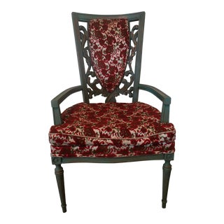 Mid-Century Modern Wood Carved Accent Chair