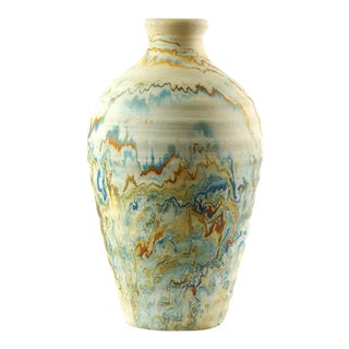 Nemadji Pottery Blue & Orange Organic Swirls Vase
