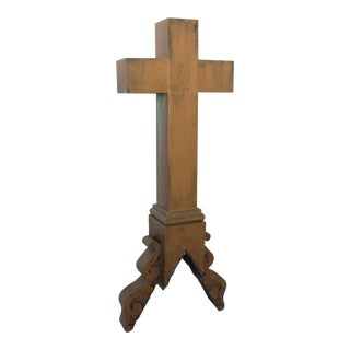 Tall Antique Church Tin Cross Ornament