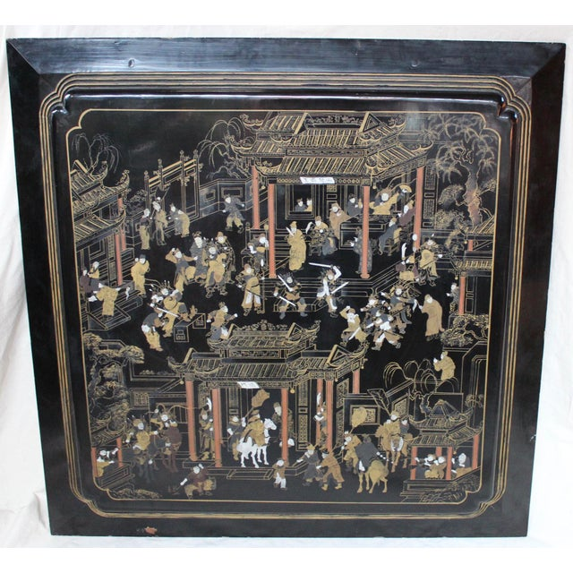 Large Vintage Chinese Black Lacquer Wall Panel - Image 2 of 9