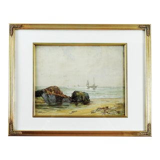 English Coastal Scene Watercolor