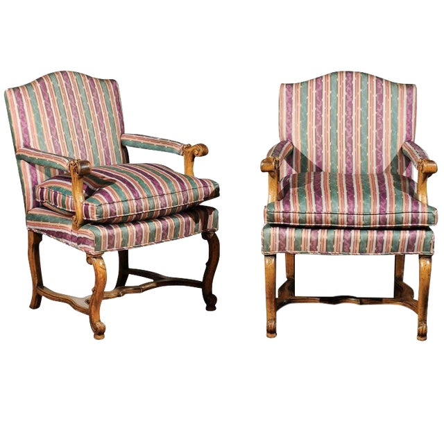 Striped Italian Bergere Chairs - A Pair - Image 1 of 6