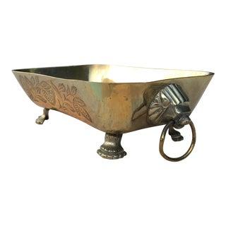 Mid-Century Brass Lions Head Handled Bowl