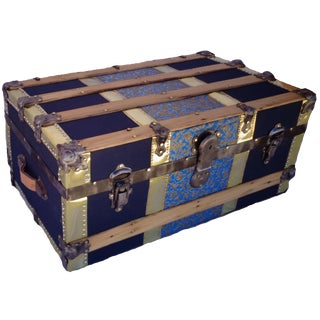 Antique Blue & Brass Steamer Trunk