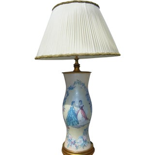 Hollywood Regency Pink Decoupage Glass Table Lamp
