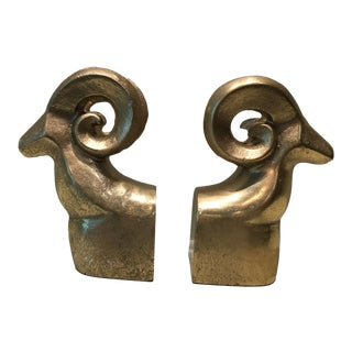 Gold Rams' Head Bookends - A Pair