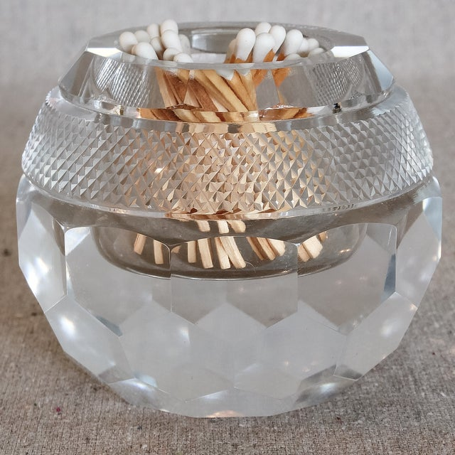Faceted Hand Cut Crystal Glass Match Striker - Image 4 of 7