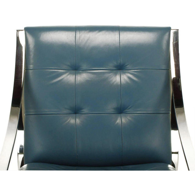 Four Bert England for Brueton Polished Steel & Cadet Blue Leather Lounge Chairs - Image 9 of 10