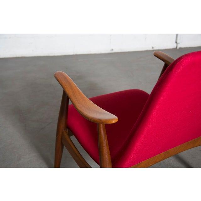 Image of Mid-Century Magenta Upholstery Teak Lounge Chair