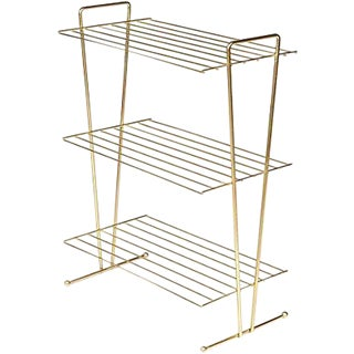 1960s Gilt Metal Storage Shelf