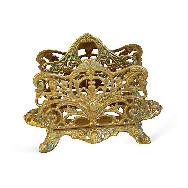 1950s Ornate Brass Letter & Note Desk Organizer - Image 3 of 6