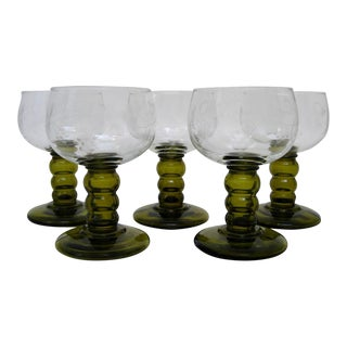 Vintage German Roemer Wine Glasses - Set of 5