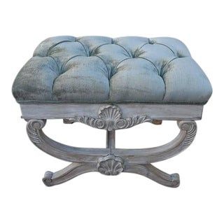 "Vintage French Painted ""X"" Bench"