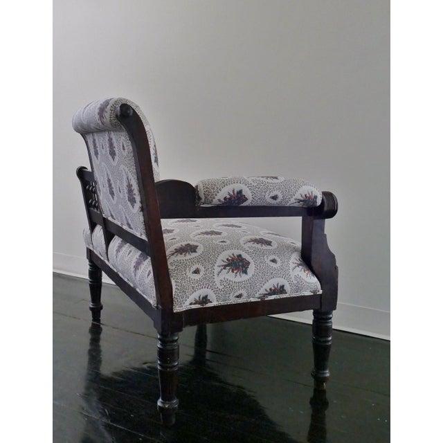 Vintage Eastlake Style Settee Upholstered in Tilton Fenwick Fabric - Image 5 of 8