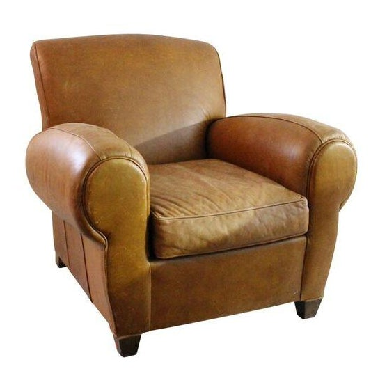 Camel Leather Club Chair - Image 1 of 3