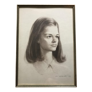 Vintage Portrait Drawing of Girl