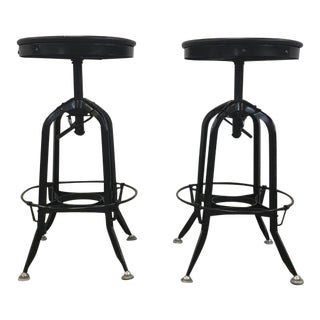 Adjustable Industrial Bar Stools - A Pair
