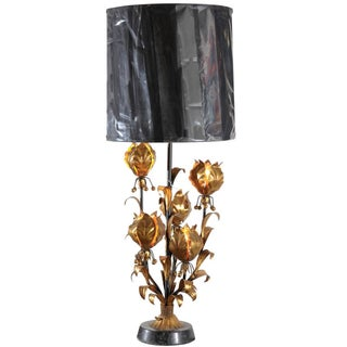 Mid-Century Italian Gilt Metal Floral Lamp