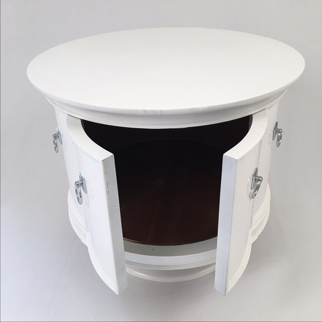 Mid-Century White Drum Shaped Side Tables - Pair - Image 4 of 4