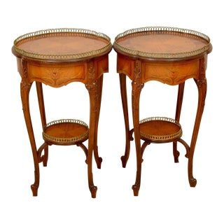 Louis XV Style Marquetry Inlay Side Tables - A Pair