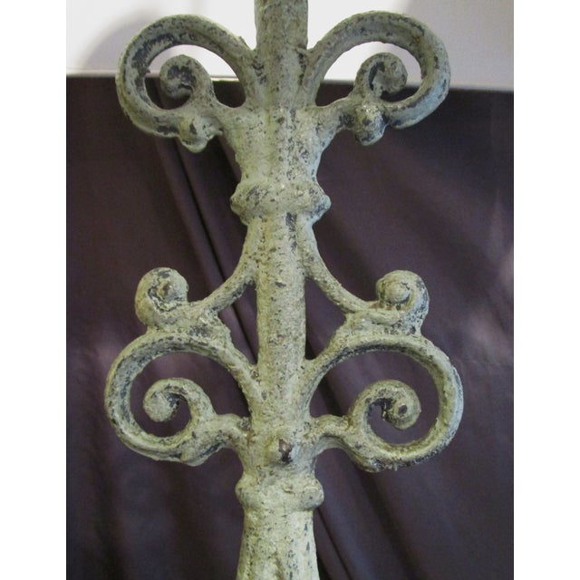 Green Cast Iron Table Lamps - A Pair - Image 5 of 5