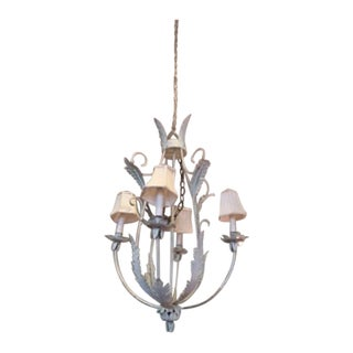 Pale Green Painted Tole Chandelier