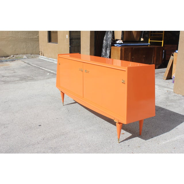 Art deco modern orange lacquered sideboard chairish for Sideboard orange