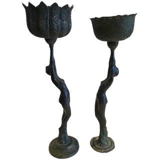 Belle Époque Period Bronze Female Vessels 'Pair'