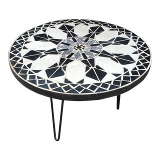 Mid-Century Mosaic Tile Sunburst Patio Table