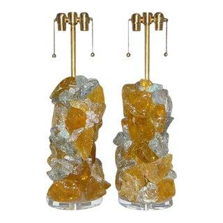 Rock Candy Glass Lamps in Lemon Frost