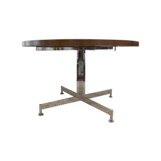 Vintage MCM Chrome & Walnut Dining Table