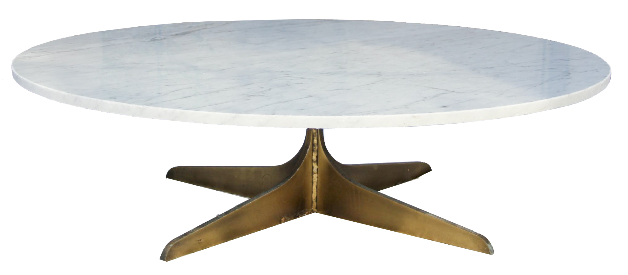 Round Marble Coffee Table With Solid Brass Base