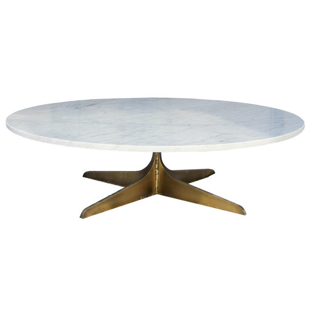 Marble Coffee Table Heavy: Round Marble Coffee Table With Solid Brass Base