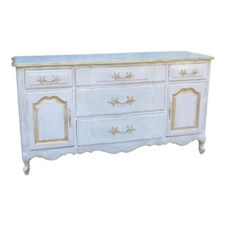 Vintage French Provincial Two-Tone Gray & Gold Finish Dresser