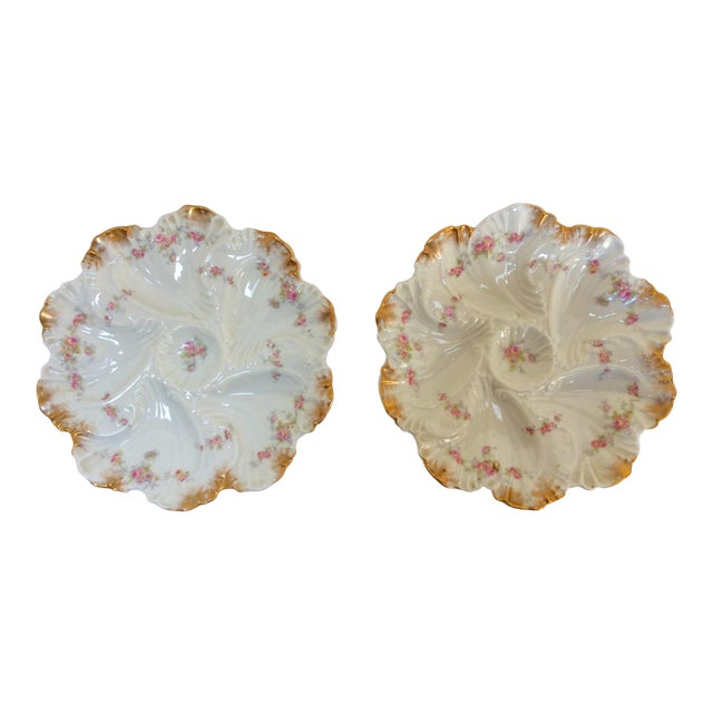 Image of A. Lanterie French Oyster Plates - A Pair