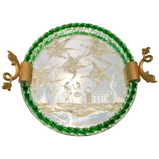 Venetian Etched Mirror & Emerald Murano Glass Rope Tray