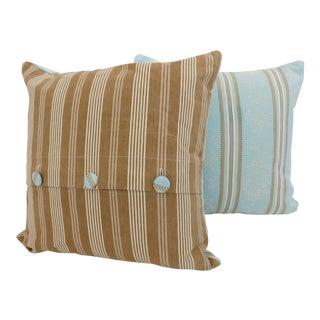 Vintage Frech Ticking Pillows - a Pair