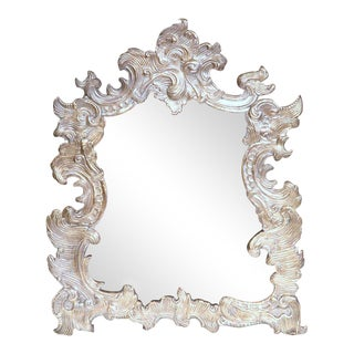 French Repousse Silvered Copper Vanity Mirror