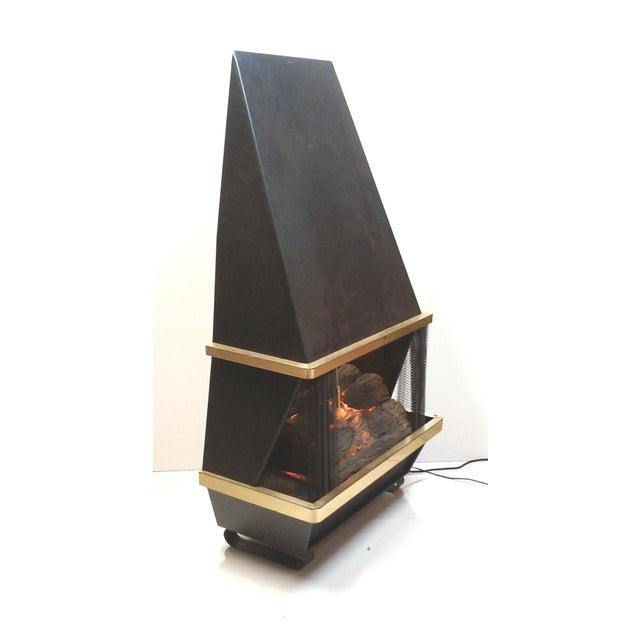 Mid Century Black Electric Fireplace Chairish