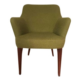 Vintage Olive Green Wool Upholstered Barrel Back Lounge Chair