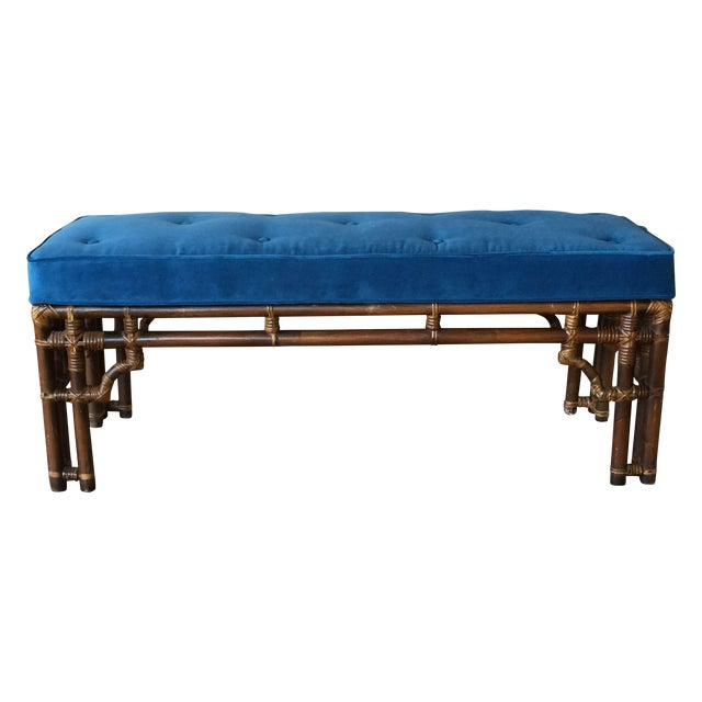 Vintage Chinoiserie Rattan Bench - Image 1 of 5