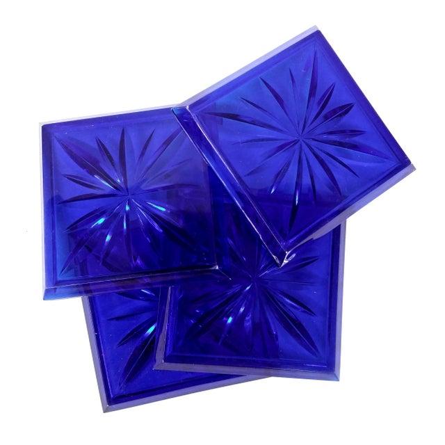 Mid Century Cobalt Blue Cut Lucite Coasters - 4 - Image 8 of 8